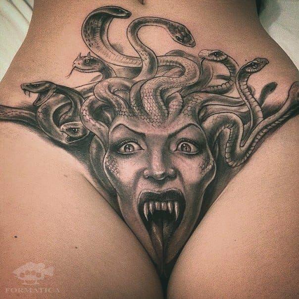 Medusa tattoo with an interesting placement medusa crotch tattoo
