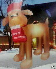 Christmas Santa Dog with Stocking Golden Retriever Airblown Inflatable 9 Ft . $87.99