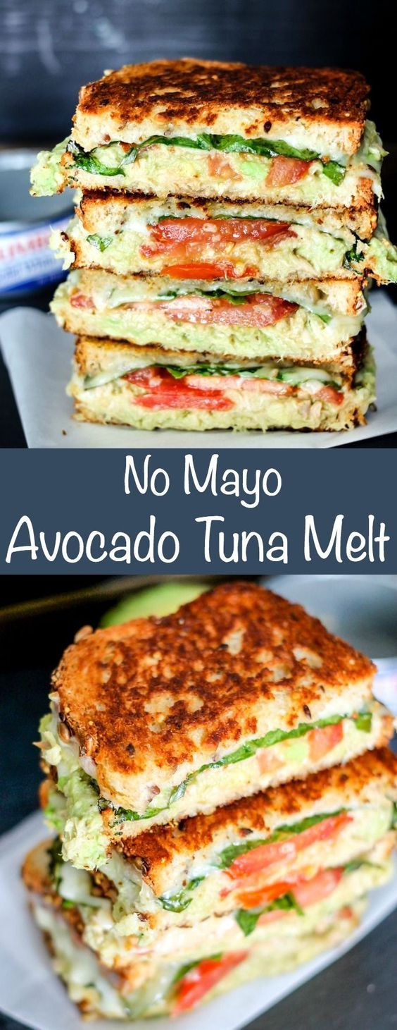 No Mayo Avocado Tuna Melt is the perfect lunch to get out of the midweek slump! Filled with solid white albacore tuna and veggies, it's deli… | recipes | Pinte…