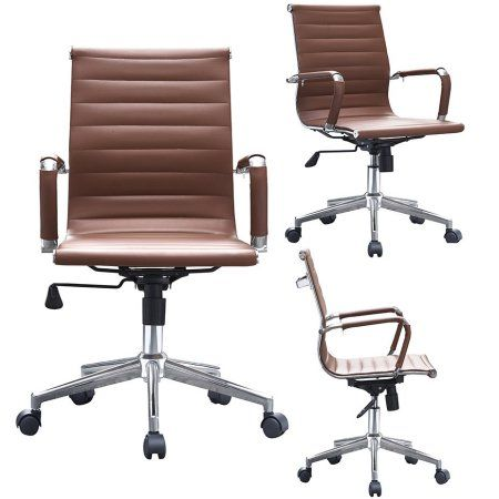 2xhome Modern Mid Back Ribbed PU Leather Office Chairs Adjust Tilt for Conference Room Tan