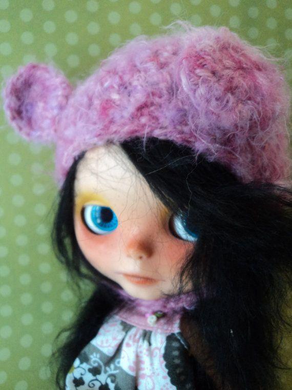 Pink Fluffy Bear Helmet hat for Blythe by Keur on Etsy, $20.00