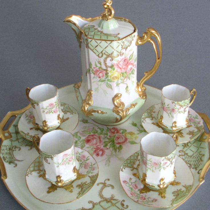 "Antique LIMOGES HP Porcelain Chocolate Set ROSES Tea Pot 15"" Tray Cups + Saucers"