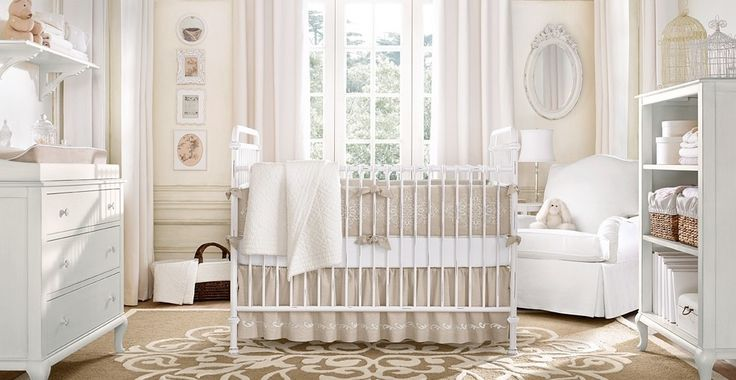 Incorporating the detail of Victorian design into a nursery can be a great way to add femininity without painting everything pink!  A light and neutral color palette keeps the feeling airy instead …