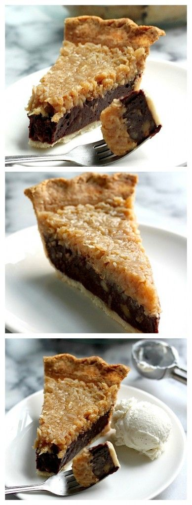 Chocolate Coconut Pecan Pie - An all butter crust filled with chocolate pecan truffle and coconut cream!
