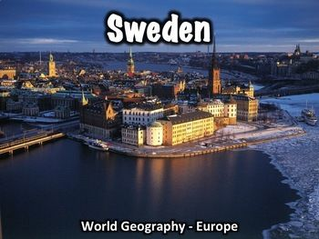 """This 30 slide Sweden Powerpoint presentation provides an overview of Sweden's history, geography, government, economy, and culture.A worksheet that can be used with this presentation can be found here: Sweden Worksheet. Includes:Geography/overview - 8 slidesFlag - 1 slideHistory - 6 slidesGovernment - 5 slidesEconomy - 3 slidesCulture - 4 slidesInteresting info - 3 slidesThis presentation can be used with the free """"Introduction to World Geography"""" presentation in my store."""