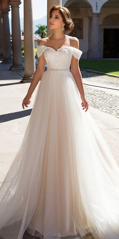 A-line wedding dresses,outstanding lace wedding dress ,appliques wedding dress ,beautiful wedding dress,Off the shoulder neckline from PeachGirlDress