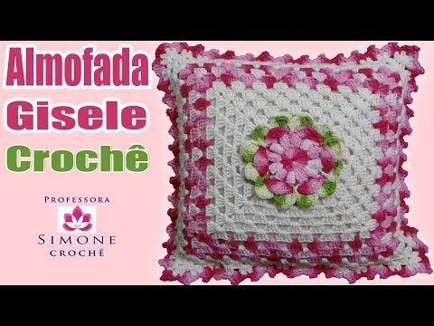 Capa de almofada de crochê Roseira por JNY Crochê - YouTube