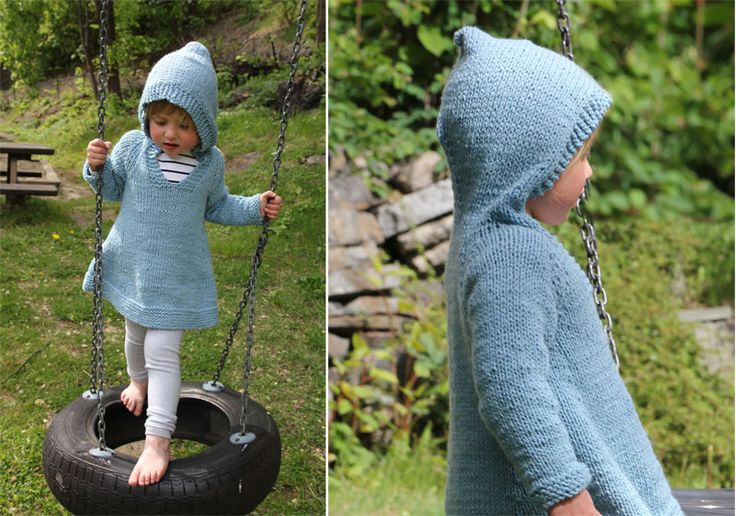 Plain girlie hoodie - free knitting pattern from http://www.pickles.no