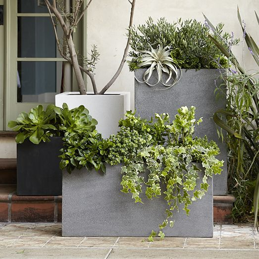 """Cityscape planters: Made from a lightweight resin composite in gray; Plastic drop-in liner; Includes drainage hole. Small: 13""""sq. x 13""""h. Small Square: 15.7""""sq. x 15.7""""h. Medium: 17""""sq. x 24""""h. Triple: 37""""w x 13""""d x 18""""h."""