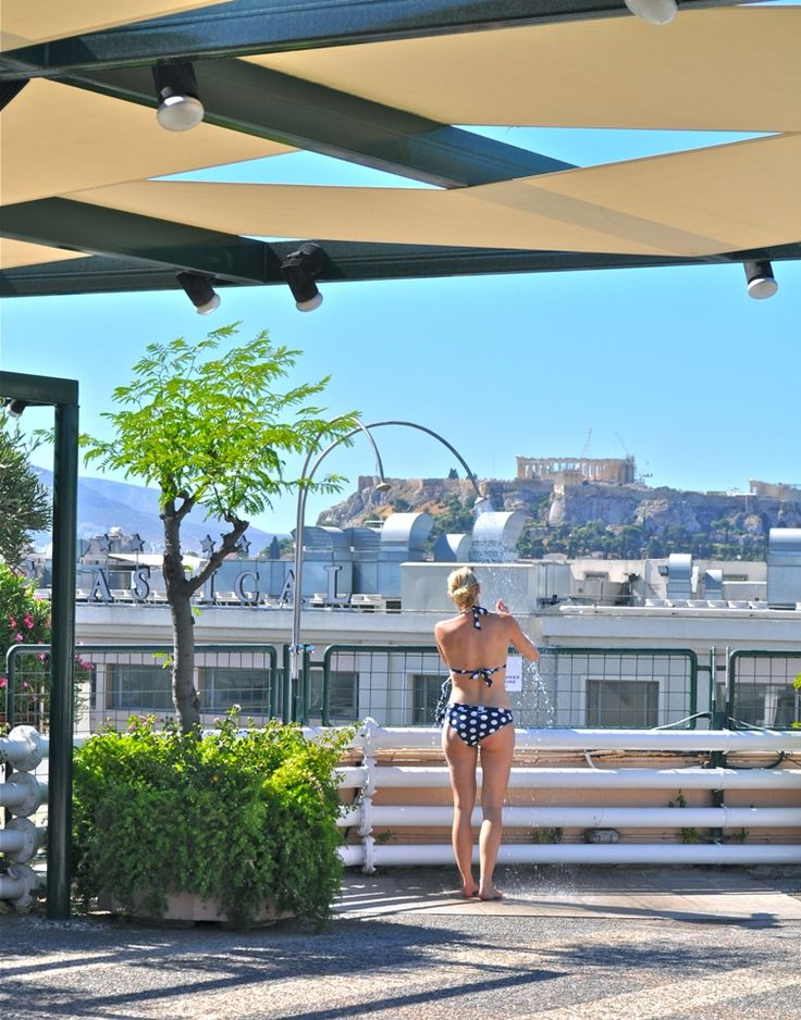 The #swimming pool offers a welcome respite from the #Mediterranean heat throughout the summer. #Athens #Hotel