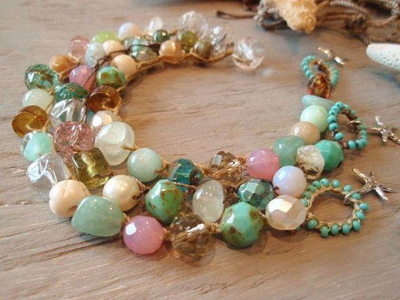 Beachy crochet bracelet  slashKnots Stackers ' by slashKnots, $46.00