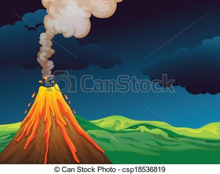 Vector Clip Art of A volcano - Illustration of a volcano ...