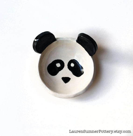 Panda Bowl - Ring Dish - Tiny Bowl - by LaurenSumnerPottery #panda #pottery # handmade