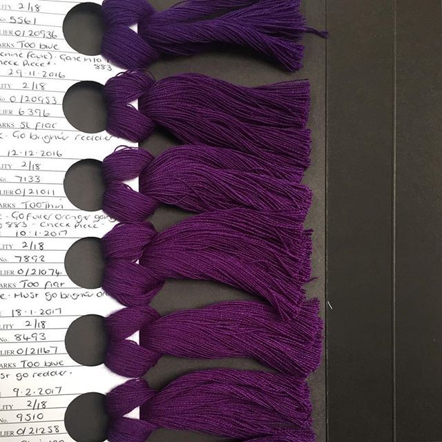 Spotted at our textile mill Wooltex. The meticulous care that goes into finding that perfect shade of purple.