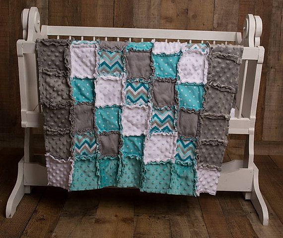 PERFECT aqua/teal/turquoise and gray Rag Quilt! Adorable crib bedding for a boy or girl! Neutral nursery, girl nursery, boy nursery, gray aqua nursery, turquoise nursery, teal nursery, chevron nursery, crib bedding ideas, crib Rag Quilt