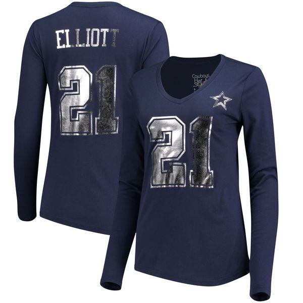 Women's Dallas Cowboys Ezekiel Elliott Navy Shimmer Away Foil Name ...