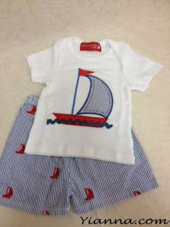 """Nautical"" 2 Piece Set Girls or Boys Set Size 0-6 mos Sailboats 2 pieces short set $36.00"