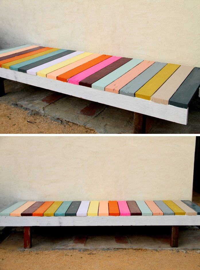 DIY painted garden bench for the front of the Port house. Love the colors!