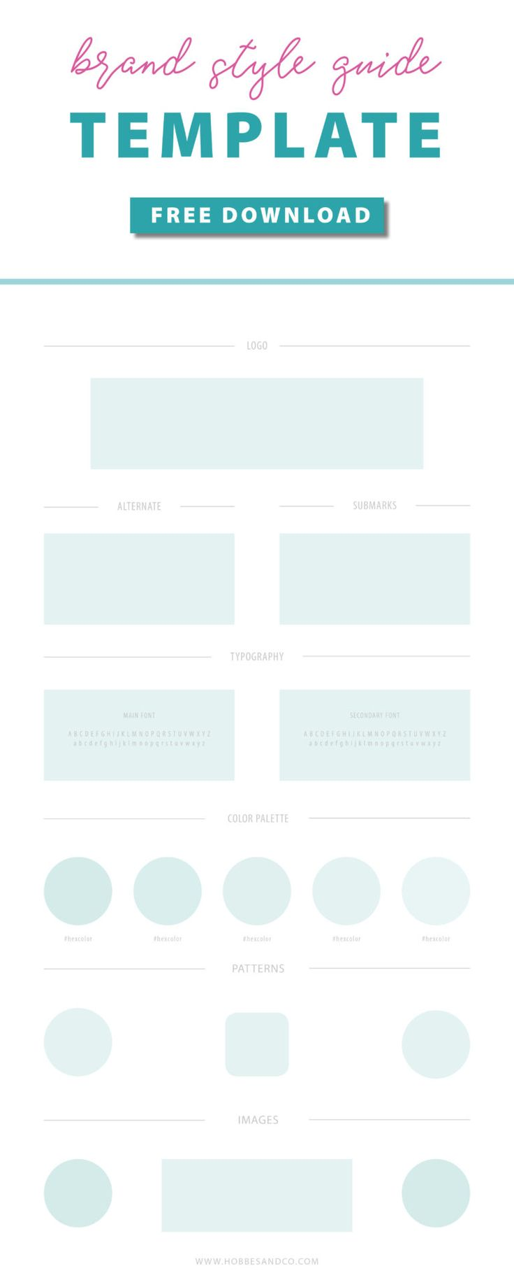 Free brand style guide template editable in Canva, Illustrator, InDesign or Photoshop!