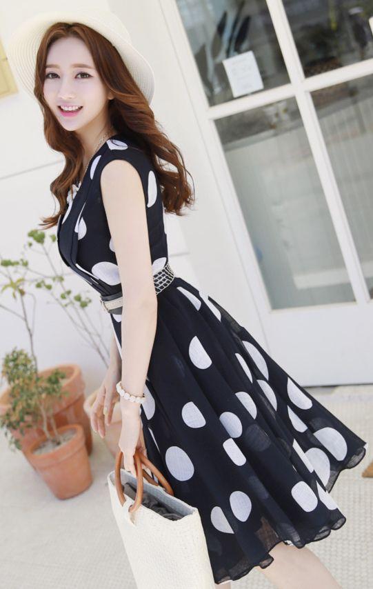 StyleOnme_Polka Dot Belted Sleeveless Flared Dress #polkadot #dress #feminine #cute #sweet #koreanfashion #kstyle #kfashion #springtrend #datelook