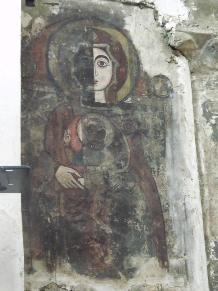 Partially restored icon white monastery church sohag egypt · art conservationwall paintingsabstract paintingsegyptian