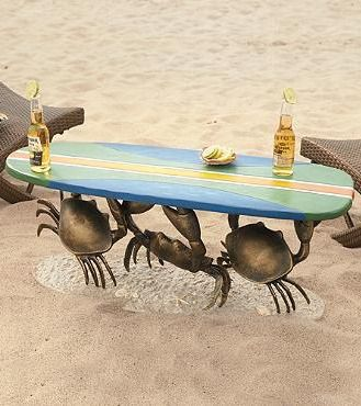 Standing on a sandy beach, our one-of-a-kind Crab Surfboard Table adds a touch of fanciful flair to your decor.