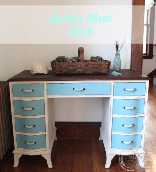Sailors Knot Desk in Provence and Old Ochre Chalk Paint® with Anthropolgie pulls.  #chalkpaint #nautical by Finding Silver Pennies.