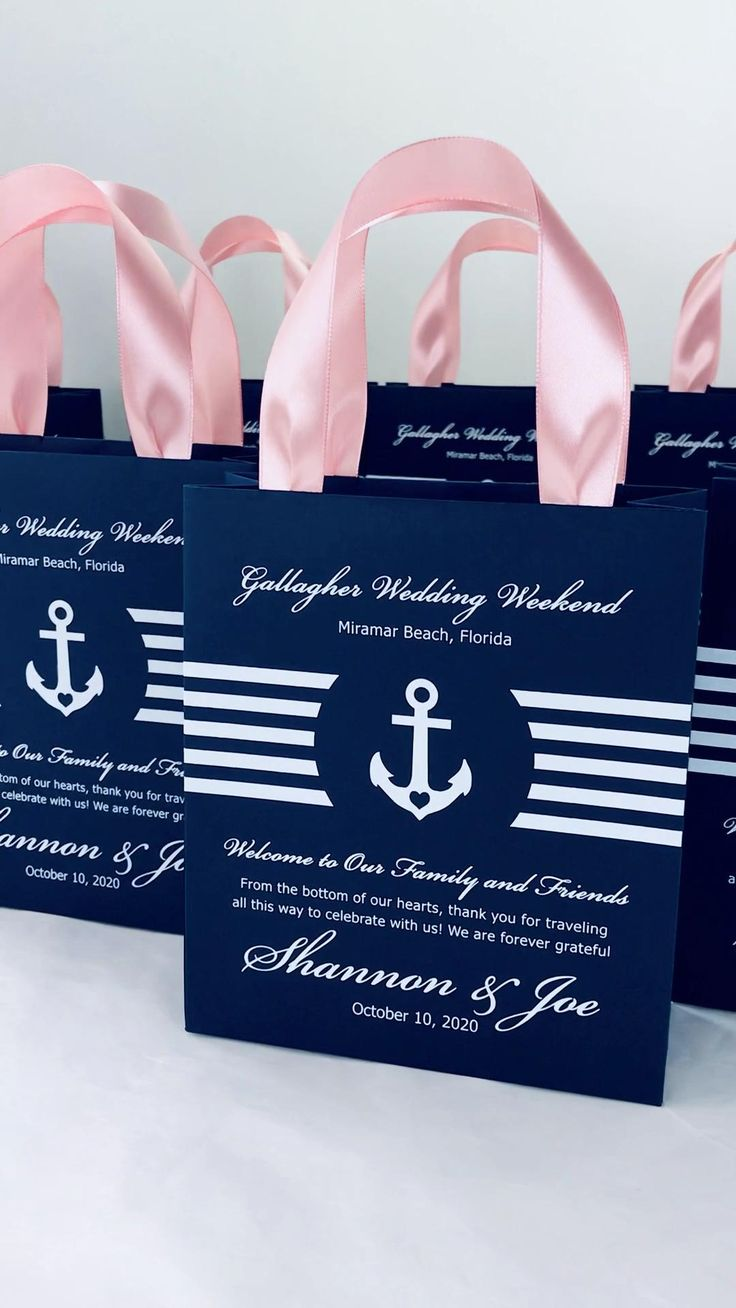 25 Navy Blue & Blush Wedding Welcome Bags with satin ...