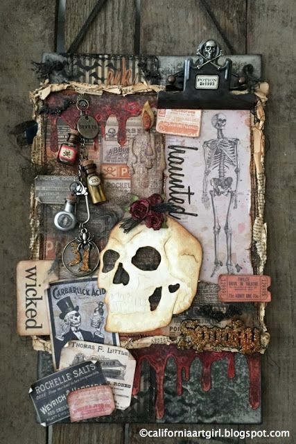 Richele Christensen: serie Inspiration Tim Holtz Halloween: Retador Tarjeta del cráneo