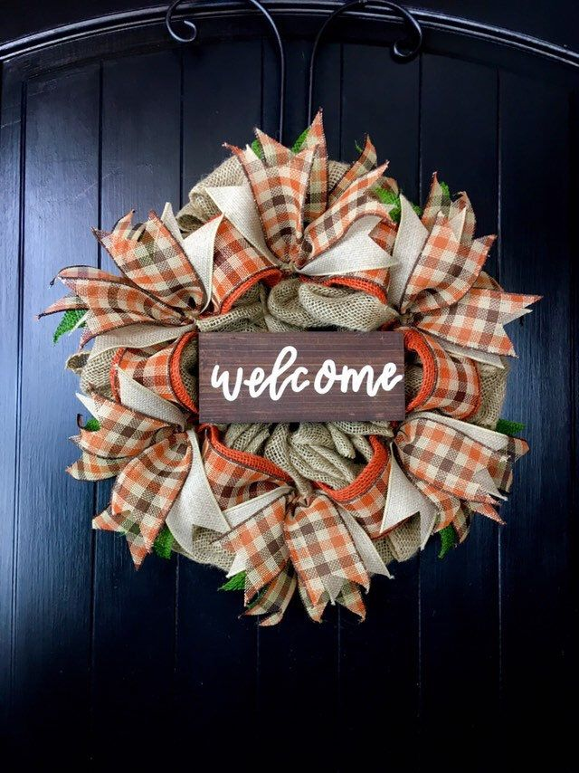 Fall WREATHS for Front Door, Thanksgiving Wreath, Welcome Sign, Fall Burlap Wreaths, Primitive Wreaths, Rustic Fall Decor, Autumn Wreath