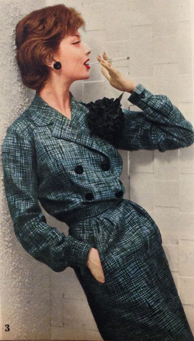Pierre Balmain- 1957 Twill print black and blue double breasted jacket and matching straight pencil skirt. Elle Collections Printemps March 4, 1957