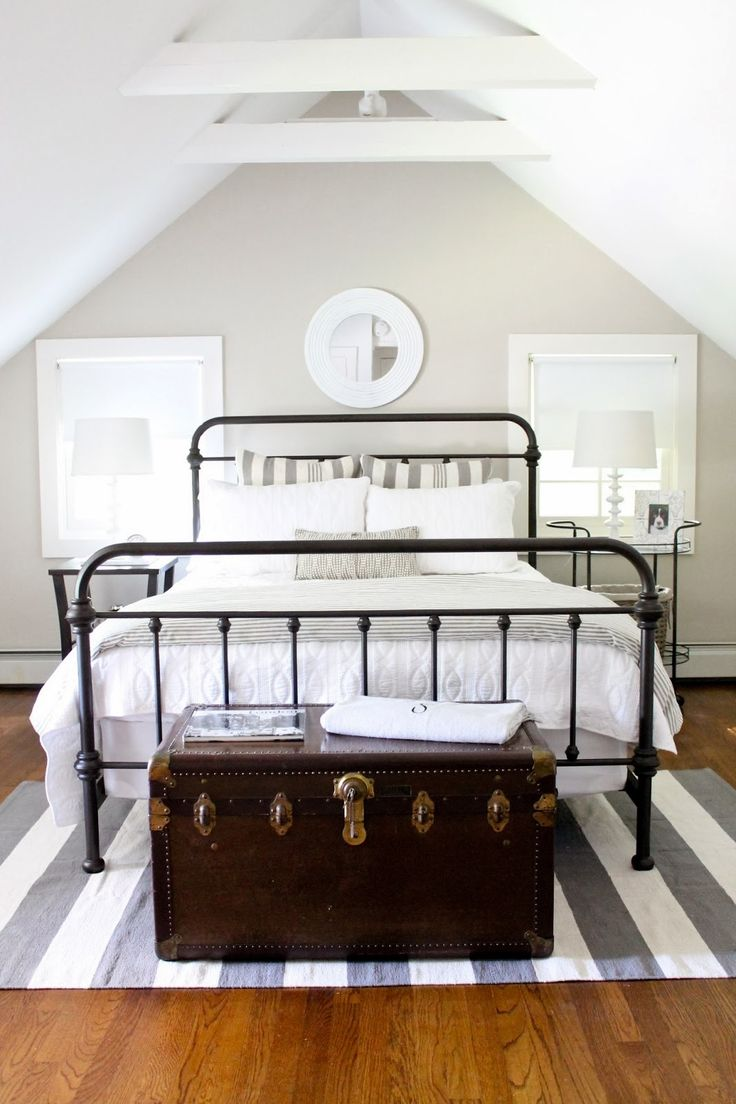 black white bedroom furniture. guest room with striped rug metal bed charcoal gray white linens wall behr sculptor clay via the picket fence projects black bedroom furniture