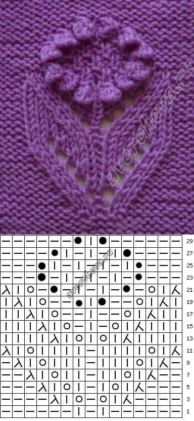 узор 112 цветок подсолнух | каталог вязаных спицами узоров