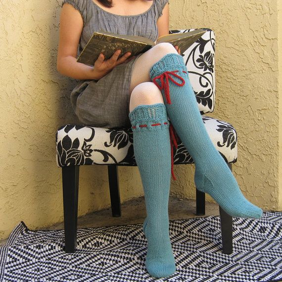 Knee High Socks Turquoise Lace with Red Ties hand knit
