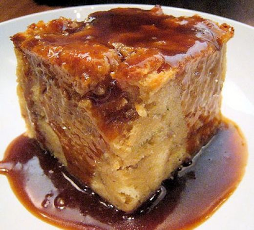 Photo: originally posted to Flickr as Banana foster bread pudding. This is very close to what the County Line bread pudding looks like when served. Think raisins instead of bananas.