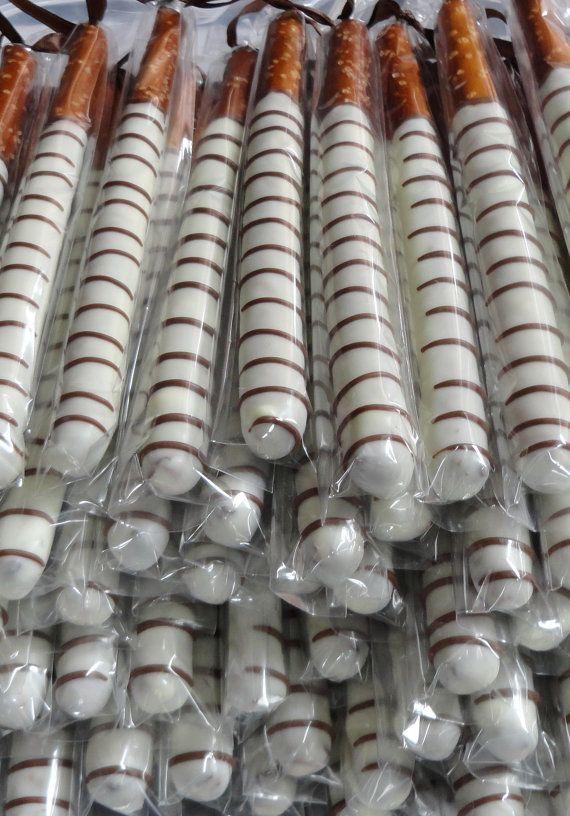 Wedding Pretzel Rods | ) Chocolate Covered Pretzel Rods -- GREAT baby shower favors, wedding ...
