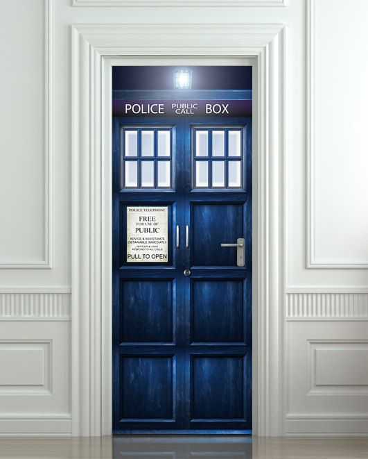"""Getting this for my wardrobe > Door STICKER Police box movie magical mural decole film self-adhesive poster 30x79""""(77x200 cm) / on Etsy, $39.99"""