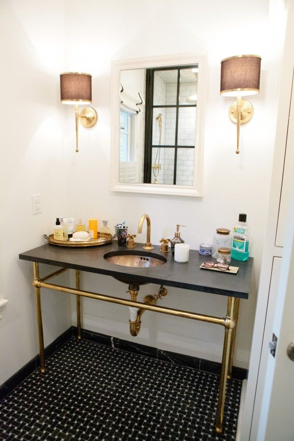 I'm not a big brass person, but this bath vanity area is really handsome.Love the scale of the piece and the sconces. Bailey McCarthy http://www.peppermintbliss.com/2012/06/beforeafter-george-banks-master-bedroom/: Bathroom Design, Interior, Bathrooms Decor, Bathroom Sinks, Bathroom Ideas, Sconces, Brass, Powder Rooms, Black
