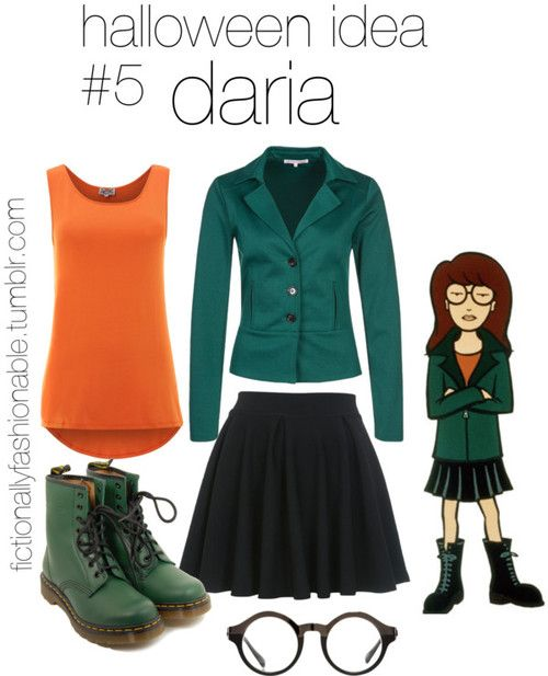 Halloween Idea #5: Daria by fictionallyfashionable featuring dr martens boots Halloween costume idea for Daria! :) I didn't find specific items for this one because it's pretty much just a matter of collecting a few items, I would definitely recommend going thrift shopping for this look.Find a brown wig if you're not a brunette and go neutral with the make up and you'll have this look in the bag!