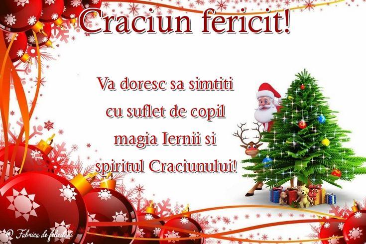 Vă doresc să simțiți cu suflet de copil magia Iernii și spiritul Crăciunului!
