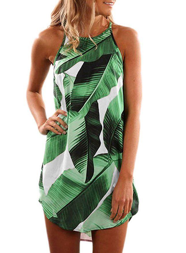 630ea5ffef3 Asvivid Women s Summer Halter Dress Round Neck Sleeveless Floral Print  Casual Straps Sundress Small Green