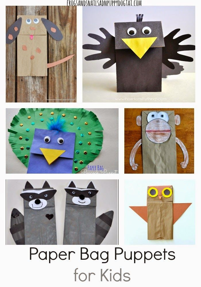 Paper Bag Puppets for Kids. A fun collection of the best paper bag crafts around.