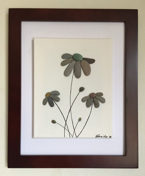 Pebble art, flowers, floating canvas, framed art, beach decor, home decor, unique gift