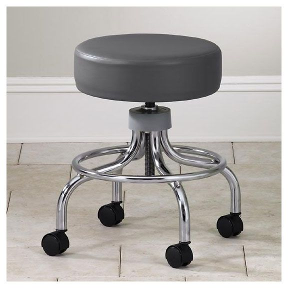 Clinton Industries Value Series Round Foot Ring Chrome Base Exam Stool is covered by premium, stain resistant, woven vinyl upholstery, making it durable and easy to clean.