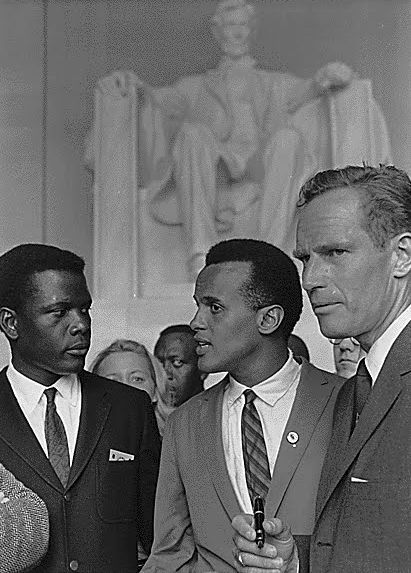 Sidney Poitier, Harry Belafonte, and Charlton Heston at the 1963 March on Washington.