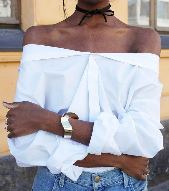 wear that white button up off the shoulder and tie a bow as a choker - the way to spring