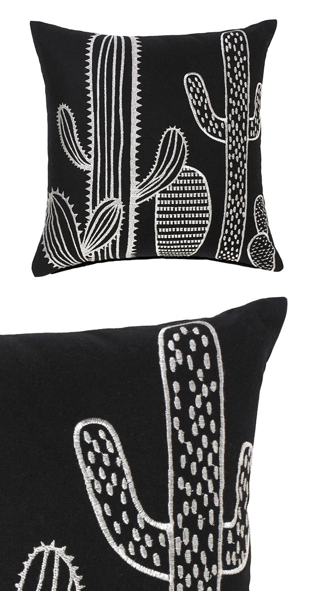 We love the black and white brilliance of the Cacti Accent Pillow. A cheeky accent for the casual living space, this pillow lends Southwestern flair while leaving traditional at the door. Beautiful emb...  Find the Cacti Accent Pillow, as seen in the An Artist's Hacienda Collection at http://dotandbo.com/collections/an-artists-hacienda?utm_source=pinterest&utm_medium=organic&db_sku=122685