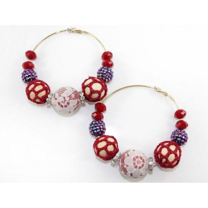Crochet , Lace, Beads Mega Hoop Earring - Red http://nyfashionstar.com/handmade/jewelry/earrings/crochet-lace-beads-mega-hoop-earring-red.html