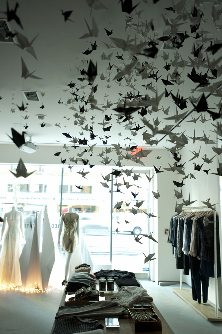 Artist Elle Muliarchyk's installation of origami at the Rebecca Taylor Madison Avenue Store