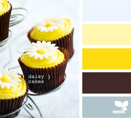 daisy cakes - Might be a good color scheme for a gender neutral kid's room someday.
